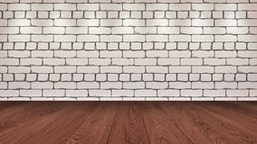 The brown wooden table top in the background is a white old brick. Spotlight effect on the wall - can be used for display or vector illustration