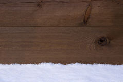 Brown Wooden Texture Or Background With Snow Royalty Free Stock Photos