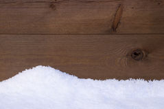 Brown Wooden Texture Or Background With White Snow Stock Photos