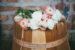 Brown Wooden Tree Log With Pink and White Flowers on Top Royalty Free Stock Photography