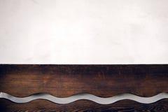 Brown Wooden Wall Shelf Stock Photo
