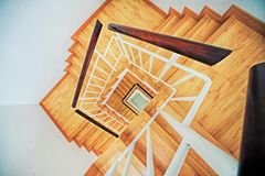 Brown Wooden White Steel Frame Staircase Stock Photos