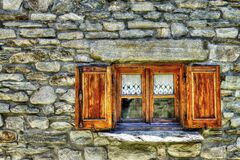 Brown Wooden Window Stock Photo