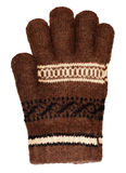 Brown wool glove isolated on white Royalty Free Stock Photo