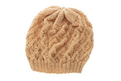 Brown wool hat isolated on white . Stock Photography