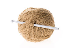 Brown wool isolated with spokes. Royalty Free Stock Images