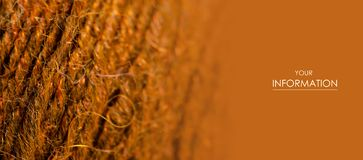 Brown wool thread macro texture material pattern. Blur background royalty free stock images