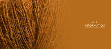 Brown wool thread macro texture material pattern. Blur background stock image