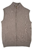 Brown wool vest with a zipper. Isolated. Royalty Free Stock Images