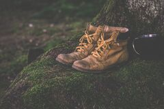 Brown Work Boots Royalty Free Stock Photos