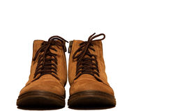 Brown work boots for people Stock Image