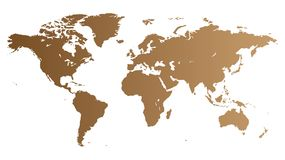 Brown World map Royalty Free Stock Photo