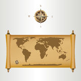 Brown world map on papirus with gold fill and a co Royalty Free Stock Image