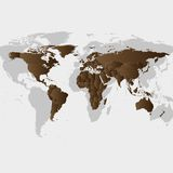 Brown  World Map Vector Royalty Free Stock Photo