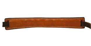 Brown wrinkle leather strap isolated on white background with handmade stitch. Stock Photography