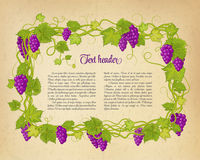 Brown wrinkled paper with grapes. Vector illustration. stock illustration