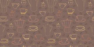 Brown wzór z filiżanką i kawowym garnkiem royalty ilustracja