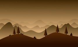 Brown wzgórza natura dla gemowego tła ilustracja wektor