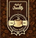 Brown wzoru tło z kawową etykietką Obrazy Stock