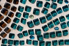 Brown y Aqua Glass Mosaic Texture Fotos de archivo