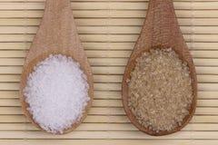 Brown y azúcar blanco fotografía de archivo