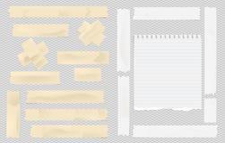 Brown y el enmascarar pegajoso adhesivo blanco, cinta aislante, pedazo rasgado del papel del cuaderno de la nota para el texto en ilustración del vector