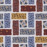 Brown y Grey Abstract Textured Shape Grid stock de ilustración