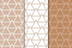 Brown y ornamentos geométricos blancos Conjunto de modelos inconsútiles Fotografía de archivo libre de regalías