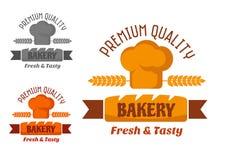 Brown and yellow bakery emblem Stock Photos