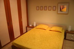 Brown yellow bedroom Royalty Free Stock Image