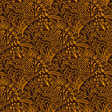 Brown and yellow floral scales pattern Royalty Free Stock Photos