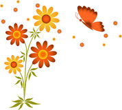 Brown and Yellow Flowers, Butterfly. Brown Flower and Yellow Flower, Orange Brown Butterfly Stock Photography