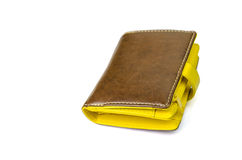 Brown and yellow purse Royalty Free Stock Photography