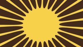 Brown-yellow retro sunburst rotate Stock Photography