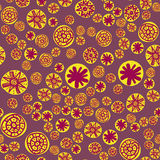 Yellow spots seamless pattern with colorful stylized stars or snowflakes. Childish texture for fabric, textile, wrapping Stock Photos