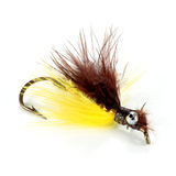 Brown and yellow streamer. Lure fishing for brown and yellow colors on white background horizontal Royalty Free Stock Photos