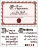 Brown-Zertifikat schablone Guilloche horizontal Lizenzfreies Stockbild