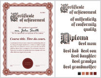 Brown-Zertifikat schablone Guilloche vertikal Lizenzfreie Stockbilder