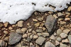 Brown ziemia, skały i niektóre śnieg, szarość i brązu zdjęcie stock