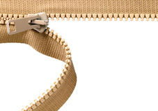 Brown zip with metal teeth Royalty Free Stock Photography