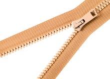 Brown zip with metal teeth Stock Images