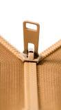 Brown zip with metal teeth Royalty Free Stock Photos