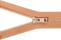 Brown zip with metal teeth Royalty Free Stock Image