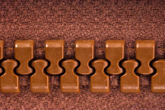 Brown zipper Stock Photography
