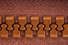 Brown zipper. Textile, unzip, zip Stock Photography