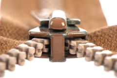 Brown zipper Royalty Free Stock Images