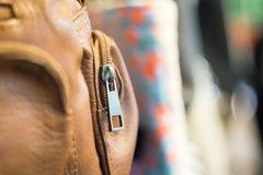 Brown zipper bag Royalty Free Stock Photography