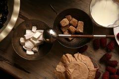 Brown-Zucker, raffinierter Zucker in der Bronzeschüssel lizenzfreie stockfotos
