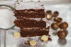 browne Chokladkakor med macadamiaen royaltyfri bild
