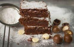 browne Chokladkakor med macadamiaen royaltyfri fotografi